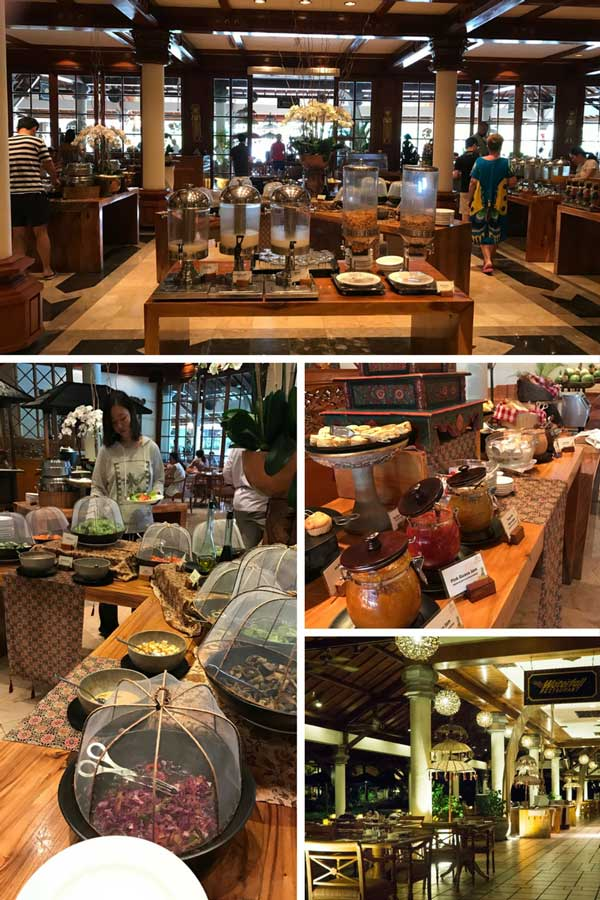 A collage of breakfast options at a resort in Bali