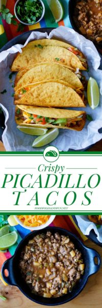 Picture collage of Picadillo Tacos for Pinterest.
