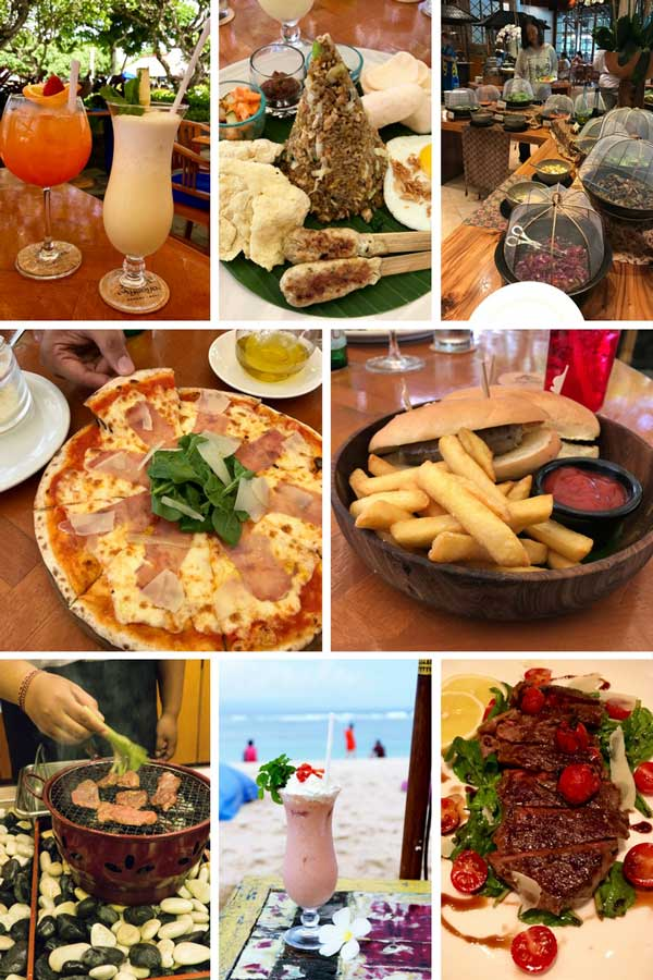 A collage of food options at a resort in Bali