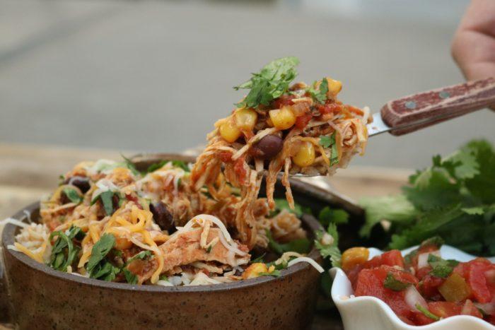 A close-up of Chicken Burrito Bowls
