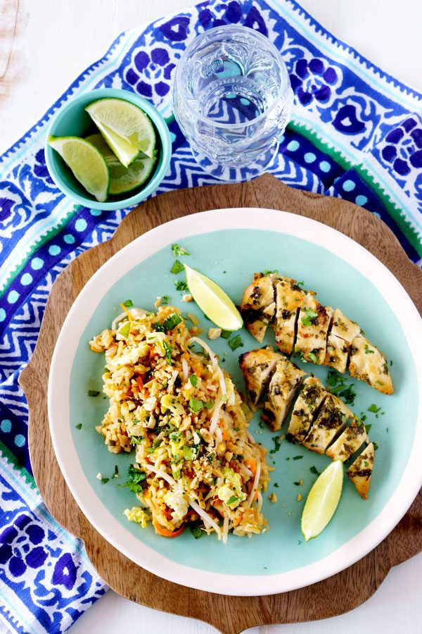 An easy weeknight meal of Cilantro Thai Chicken and Pad Thai Fried Rice!