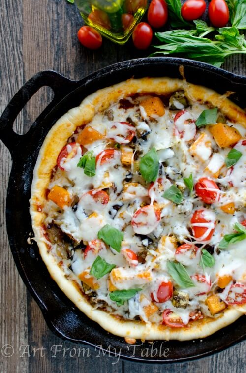 Roasted Vegetable Pizza in a skillet