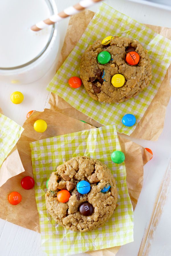 Monster cookies with oats, peanut butter, milk chocolate chips, peanut butter chips, and M&M's.