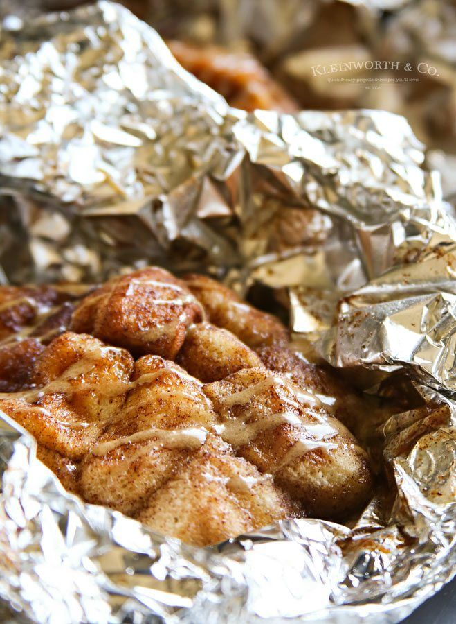 Campfire Cappuccino Monkey Bread in tin foil