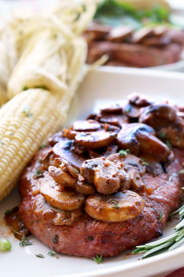 Grilled Steak Marsala recipe with mushrooms