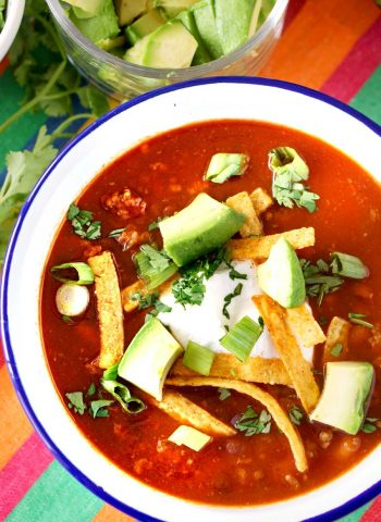 Taco Soup made in the Crockpot.