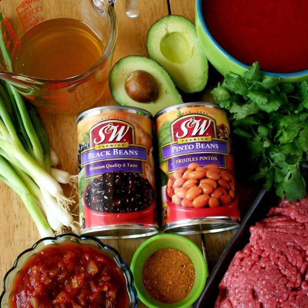 Slow Cooker Taco Soup ingredients.