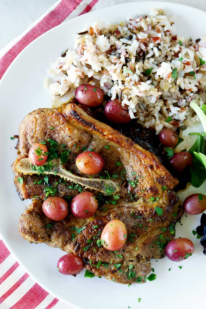 Caramelized Shallots and Red Grapes served with Skillet Pork Chops