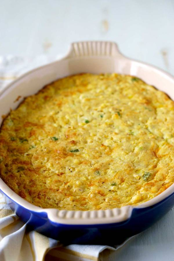 Best Cornbread Casserole with Cheese and Green Onions!