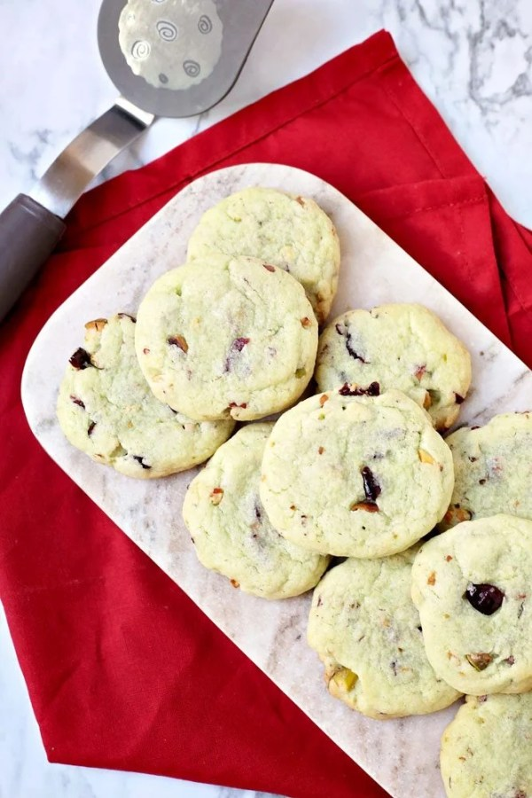 Best Cranberry Pistachio Pudding Cookies with White Chocolate Chips