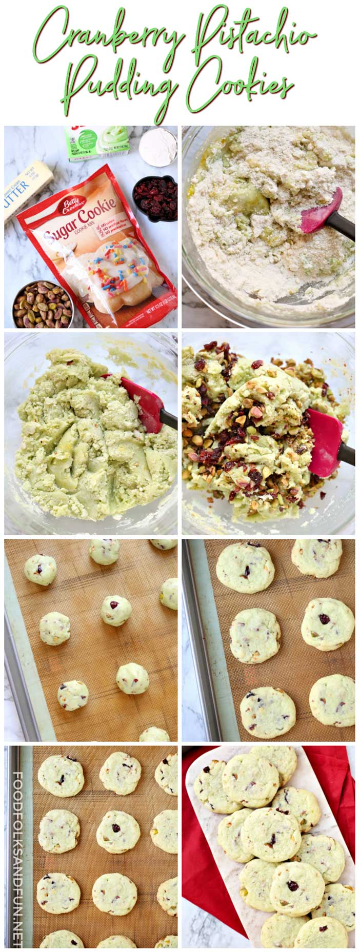 Picture collage of how to make pistachio cookies