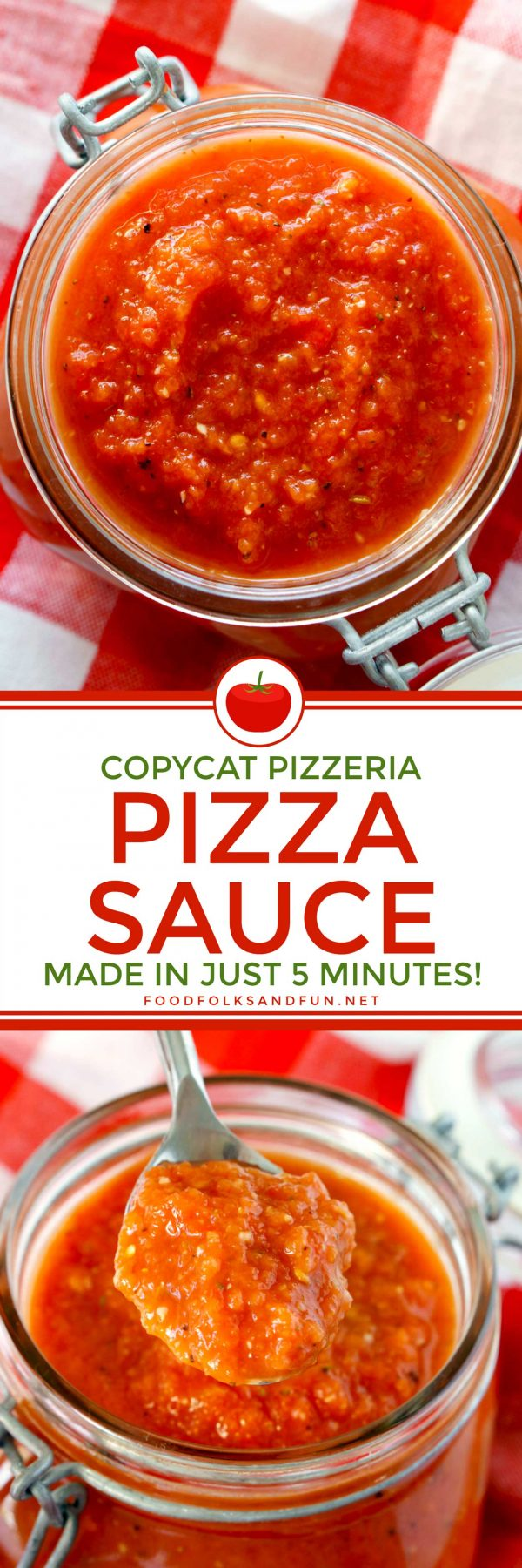 This Copycat Pizzeria Pizza Sauce Recipe tastes as if it came from your favorite pizzeria. It's SO easy to make, all you need is 5 minutes and a blender! Plus it costs just $1.95 to make!  via @foodfolksandfun