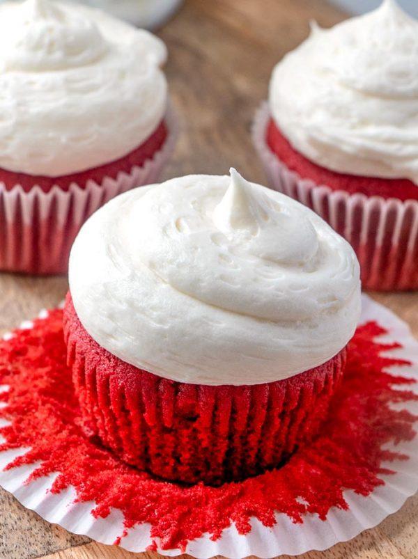 A moist red velvet cupcake.