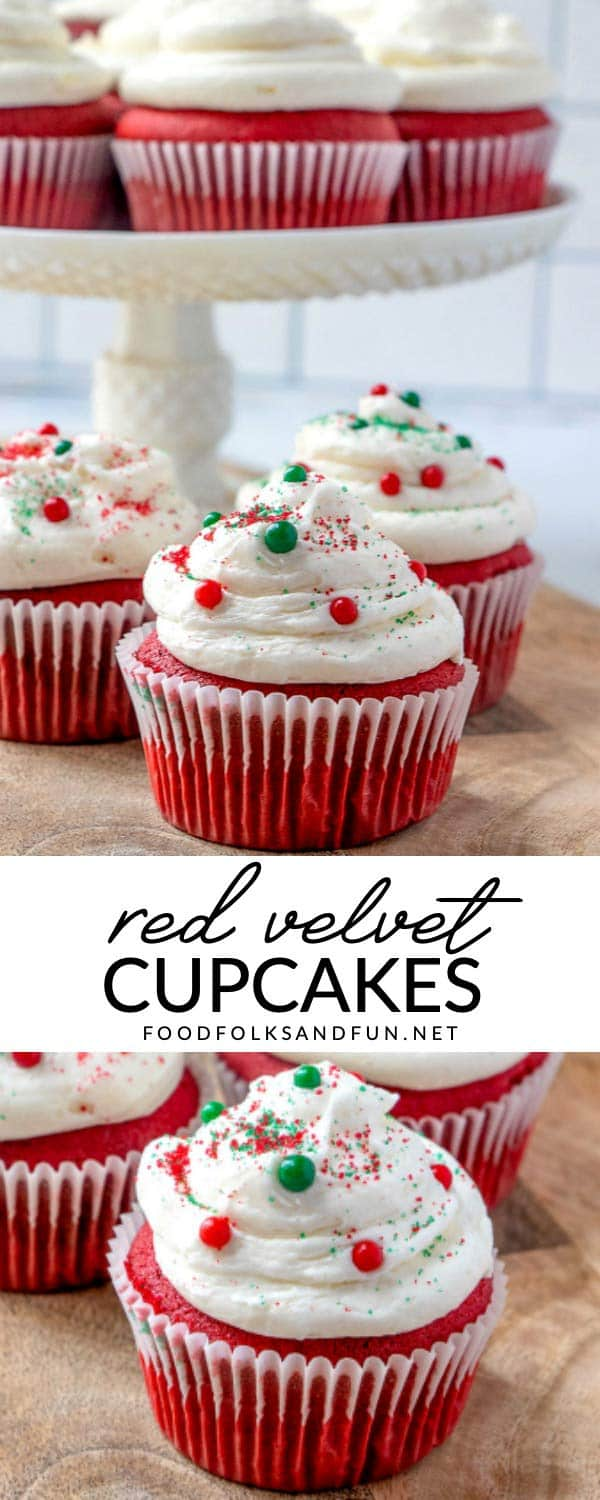 Recipe collage of best red velvet cupcakes with text overlay for Pinterest.
