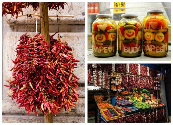 Paprika in markets in Budapest.