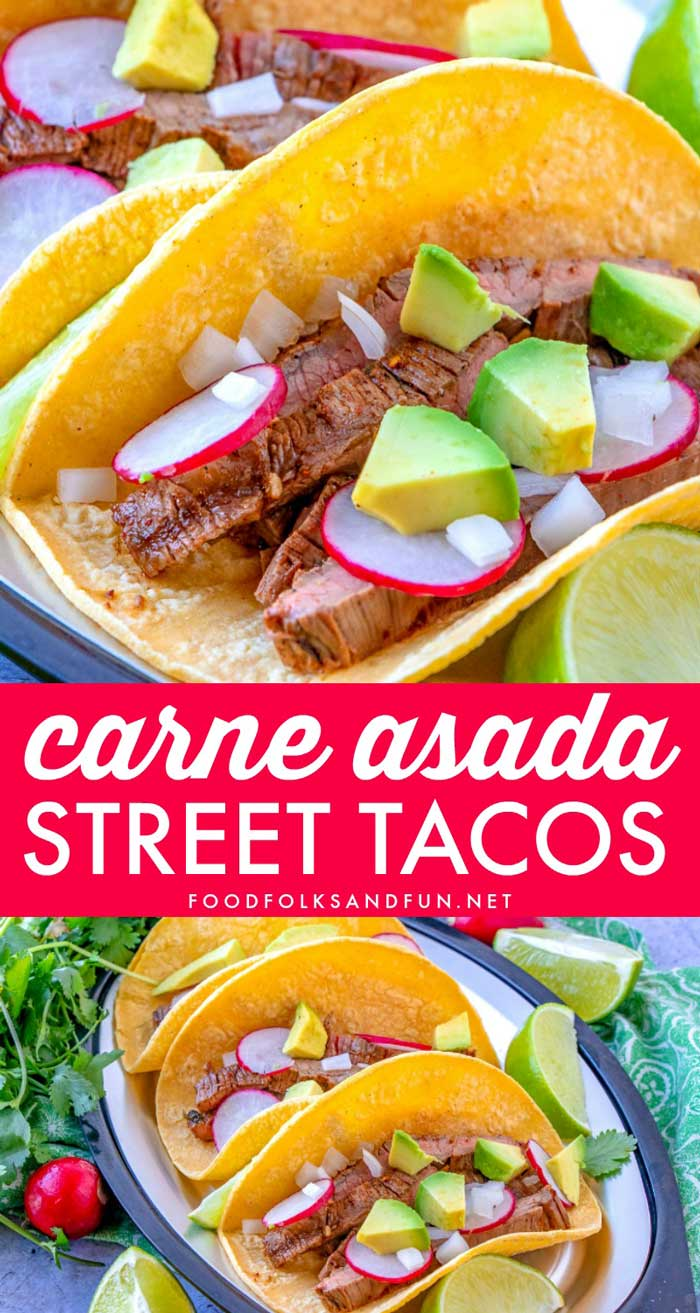 Carne Asada Street Tacos, or tacos de carne asada,is the best way to eat skirt steak! It's made by beautifully searing steak, slicing it thin and served on top of warmed corn tortillas with diced white onion, avocado, radishes, and lime wedges. via @foodfolksandfun