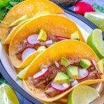 Simple Carne Asada Street Tacos on a plate.