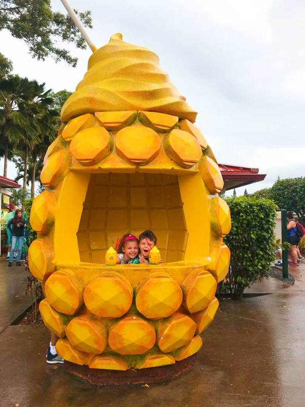 Having fun in a Dole Whip Pineapple at Dole Plantation.