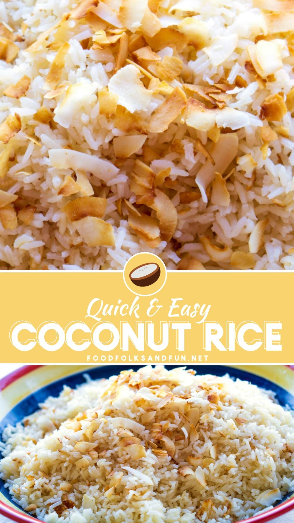 This amazing Coconut Rice recipe is so simple to make and it's so versatile, too. It's the perfect side dish for any Asian or tropical main dish. This Coconut Milk Rice is savory and slightly sweet and so addicting!  via @foodfolksandfun