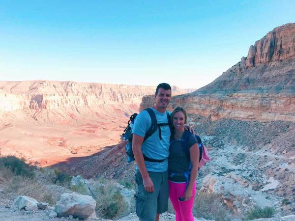 Jeff & Jess on their hike to Havasupai Falls - here's a tip: Have your Havasupai Falls permit on hand because it will be checked on your hike down!
