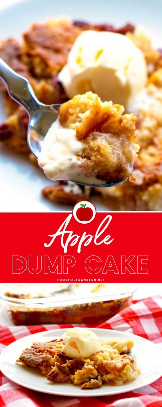 A picture collage of apple dump cake.