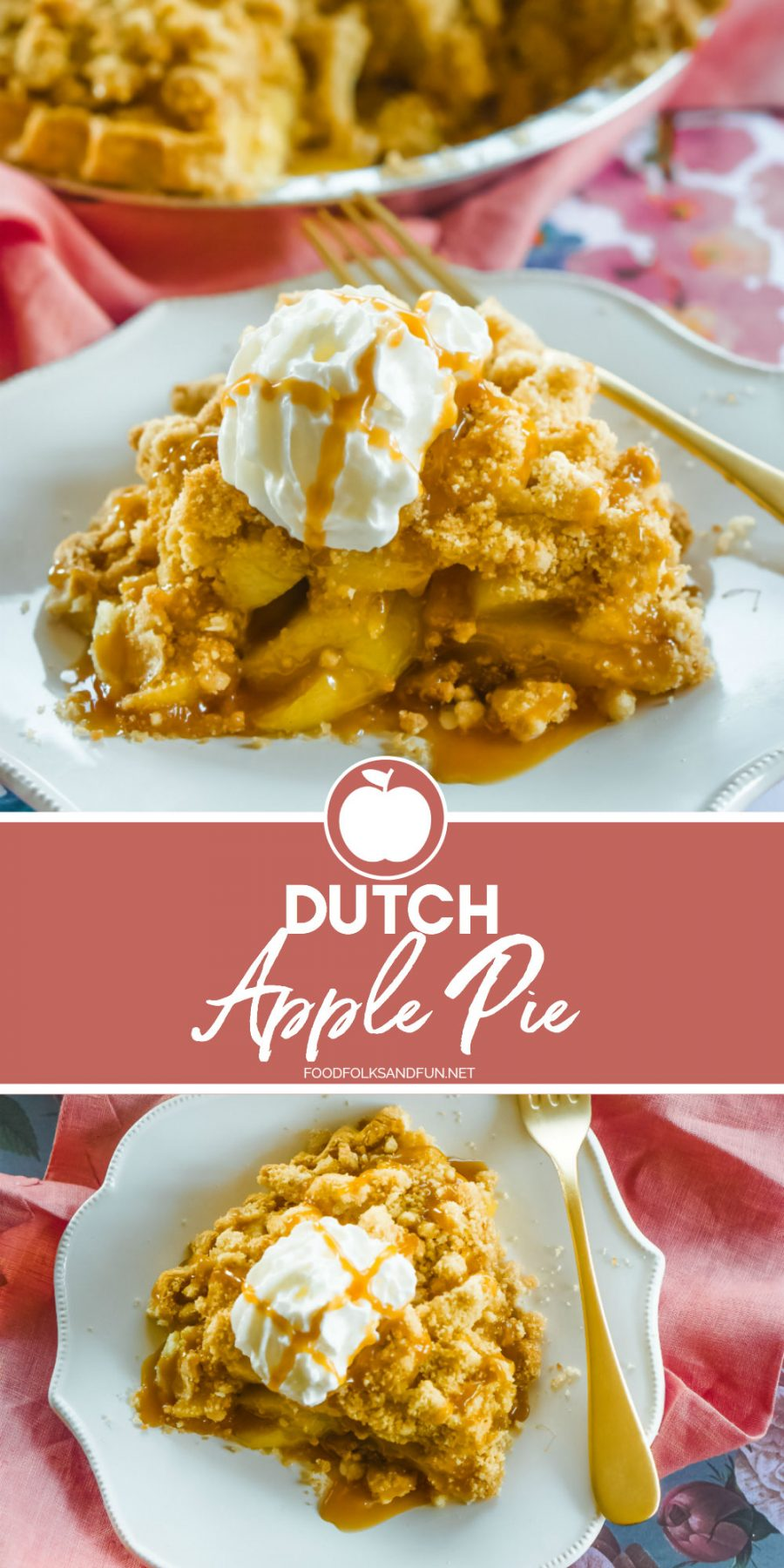 Collage of Dutch Apple Pie with text overlay for Pinterest