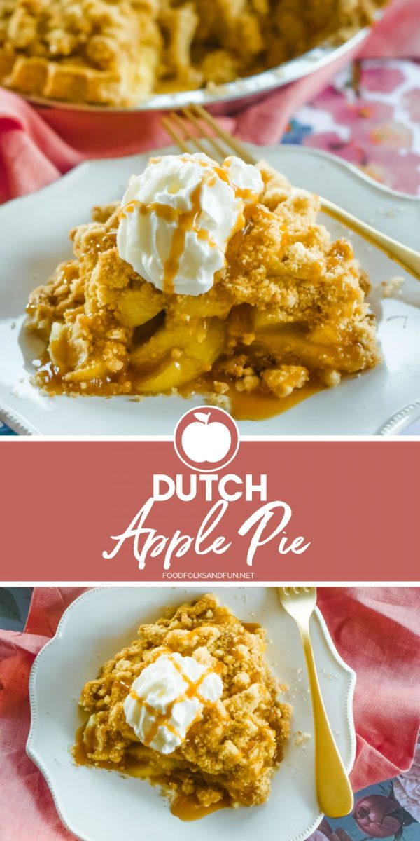 This Quick Dutch Apple Pie has a flaky bottom crust, a spiced homemade apple pie filling, and a generous buttery crumble topping. Make sure you Pin this recipe so you have it for the holidays!