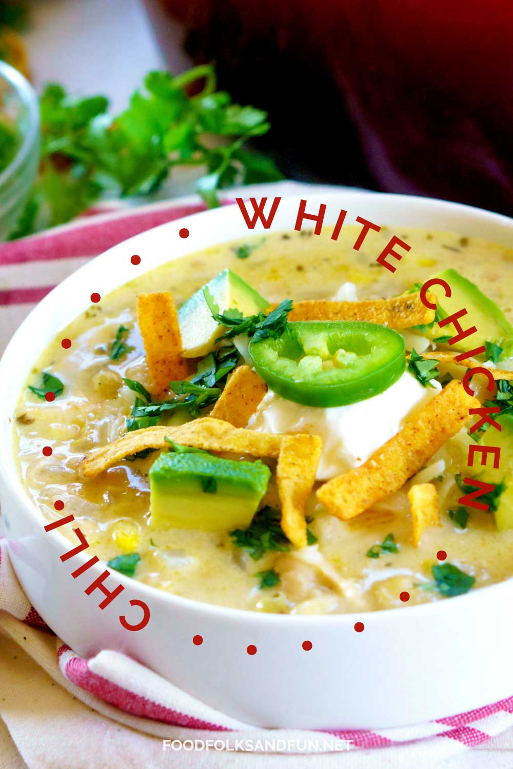 A bowl of White Chicken Chili with text overlay for Pinterest