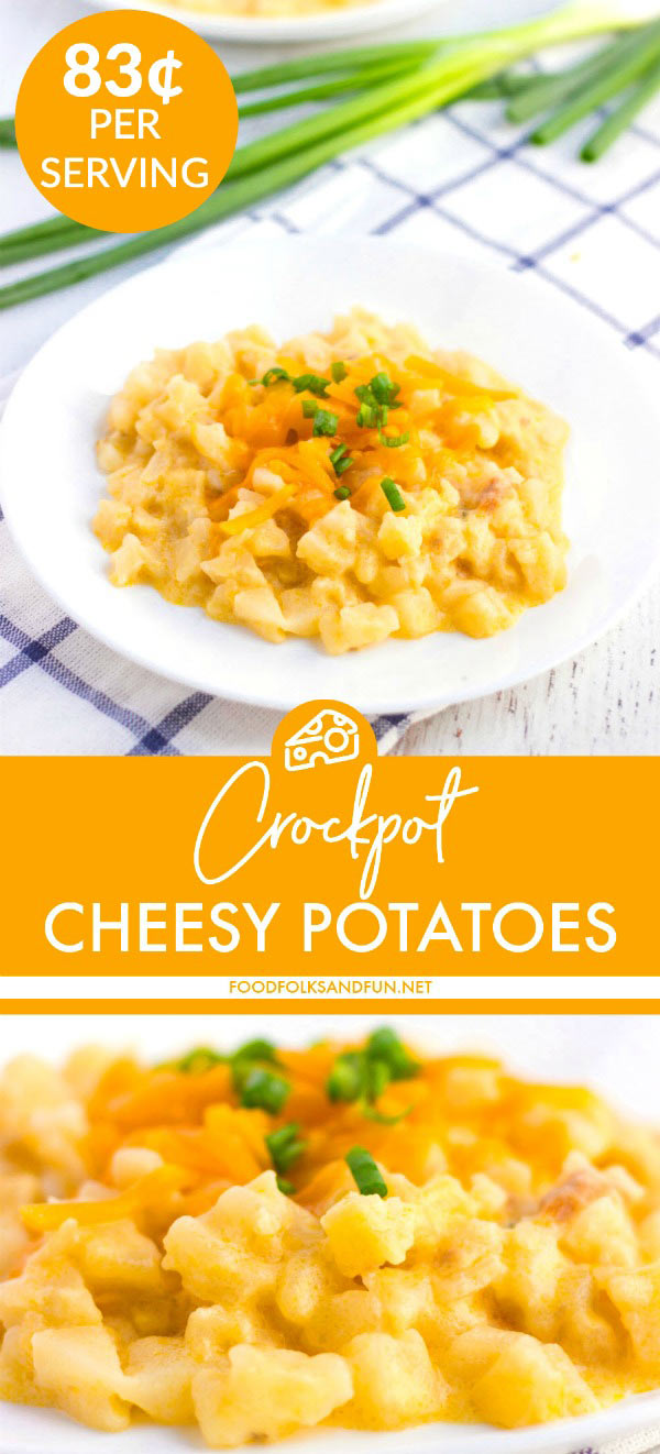 These Crockpot Cheesy Potatoes are the easiest and the best side dish or breakfast dish for any get-together! This recipe serves 8 and costs $6.67 to make. That's just 83¢ per serving!  via @foodfolksandfun