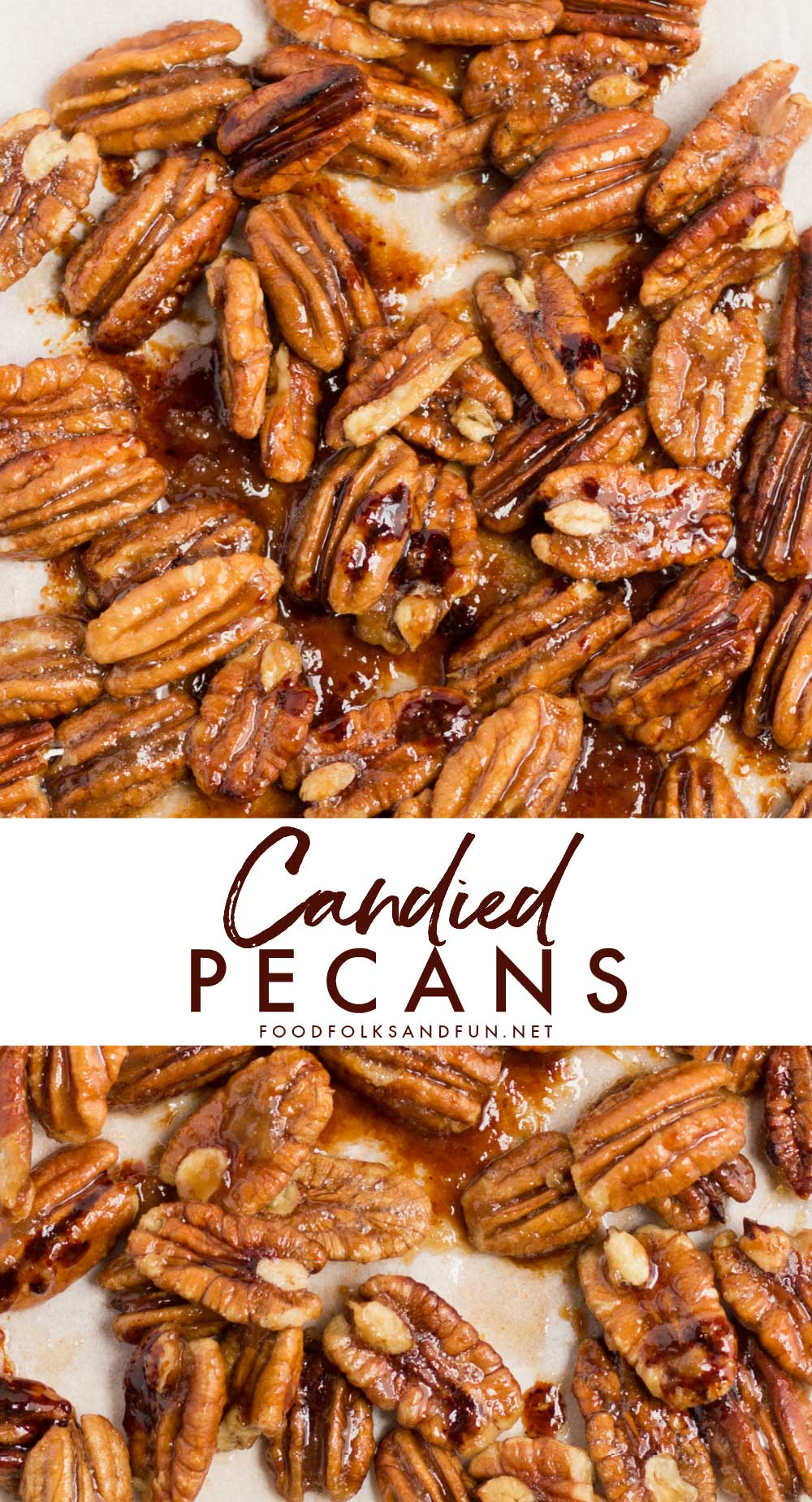 Candied pecans with text overlay for Pinterest