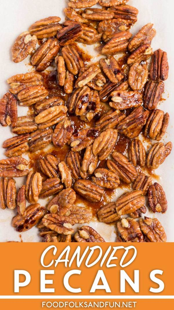 This Candied Pecans stovetop recipe comes together in just 5 minutes. The candied pecans are great for salads, snacking, and for garnishing Fall cakes!