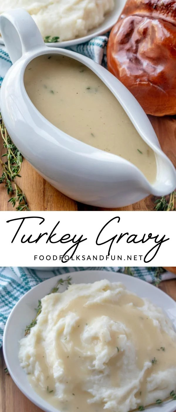 Picture collage of turkey gravy for Pinterest.