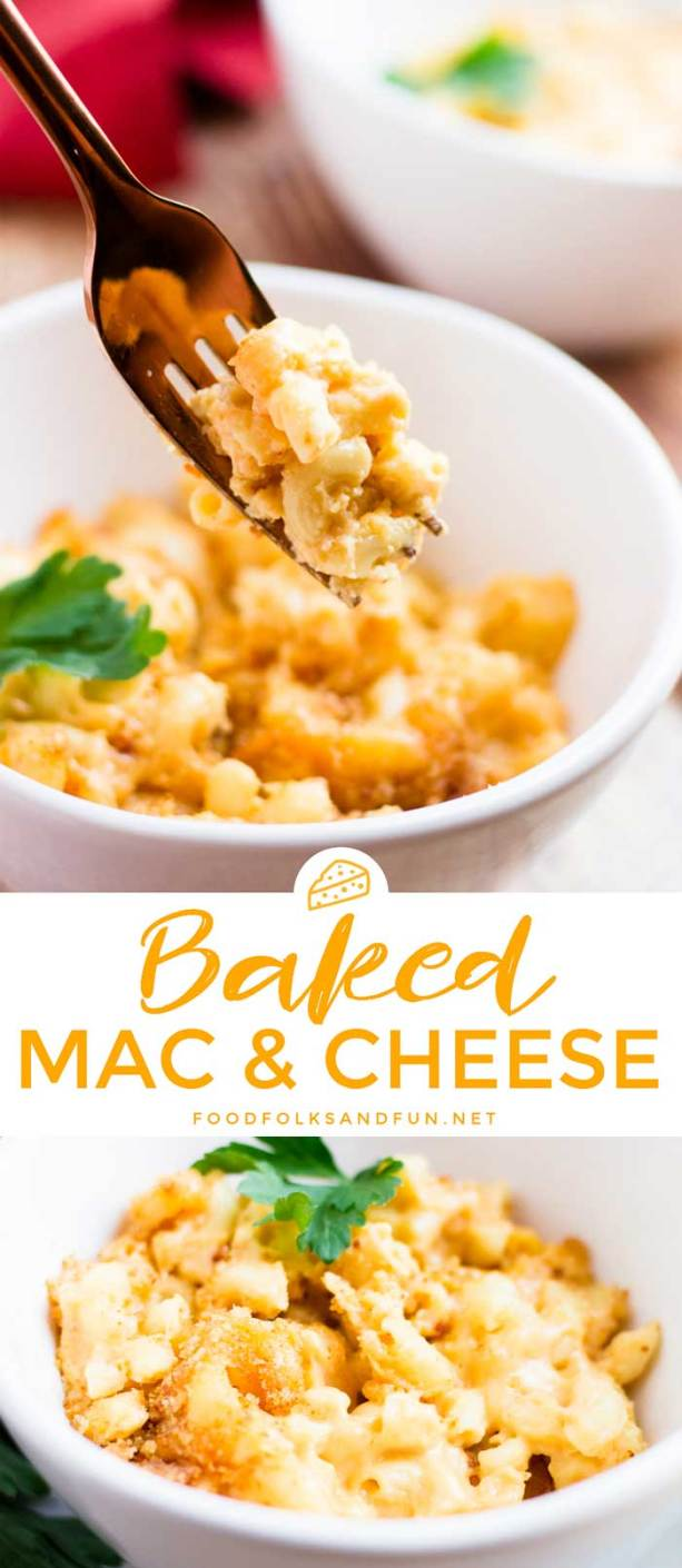 Picture collage of Easy Baked Mac and Cheese for Pinterest.