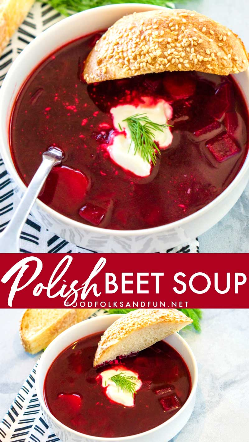 Polish Beet Soup, Barszcz or Borscht, is an easy and delicious vegetable-packed soup that is bright in color and flavor! Your family will love this sweet and sour soup.  via @foodfolksandfun