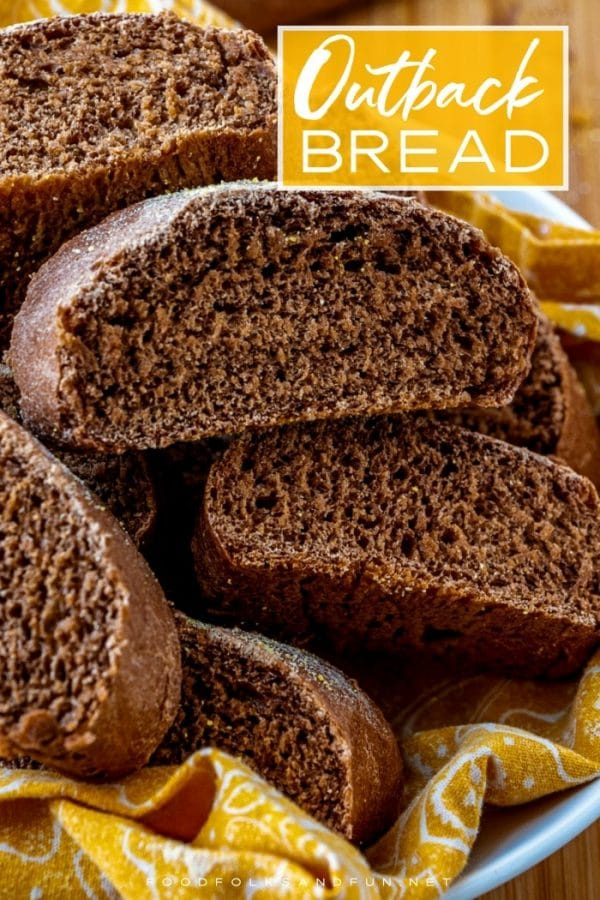 Close up picture of Outback bread with text overlay for Pinterest.