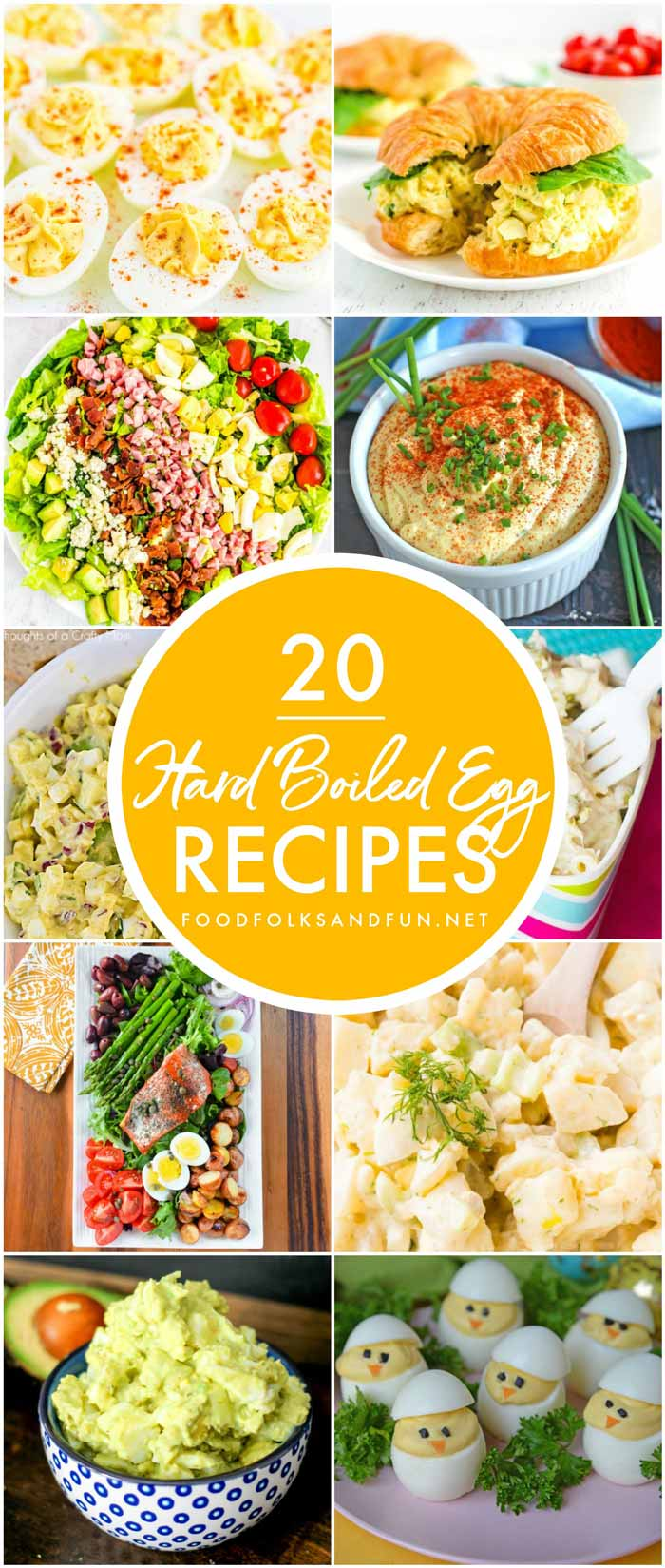 This Hard Boiled Egg Recipes Roundup has all of the recipes that you need to use up leftover Easter eggs! Here you'll find leafy salads, deviled eggs, egg salads, and more!