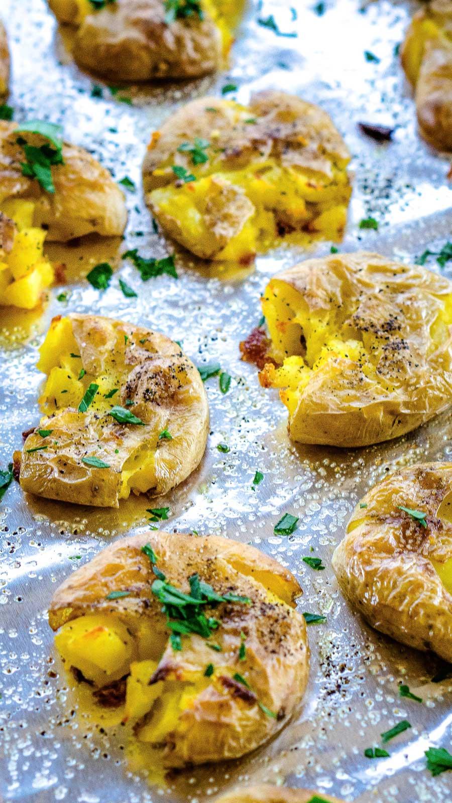 Roasted smashed potatoes