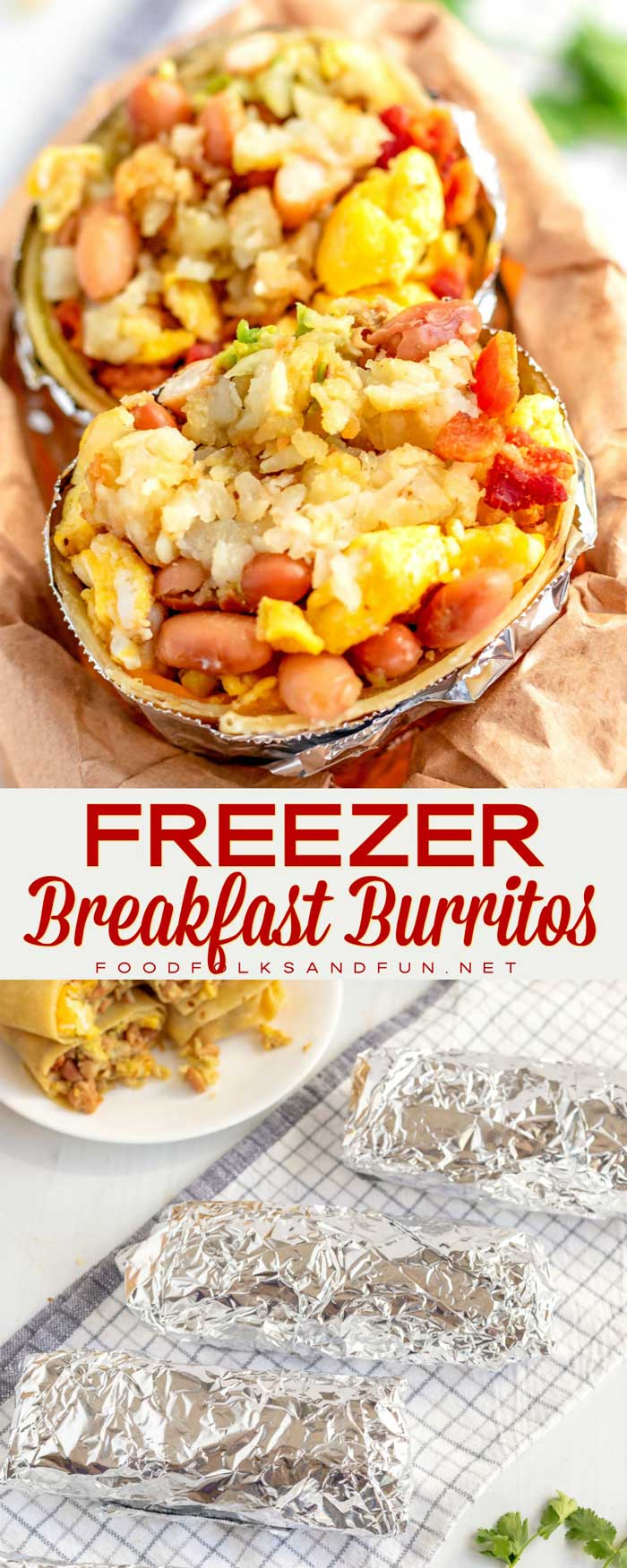 These freezer Breakfast Burritos are massive and stuffed with eggs, cheese, bacon, crispy potatoes, guacamole, and my secret ingredient that makes them incredible! #breakfast #bacon #breakfastburritos #burrito #comfortfood #FreezerMeal #FreezerBreakfast #foodfolksandfun via @foodfolksandfun