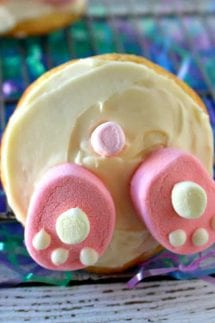 A close up of a bunny butt cookie