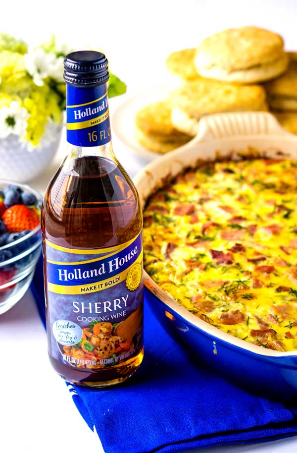 Sherry cooking wine used to make a brunch bake.