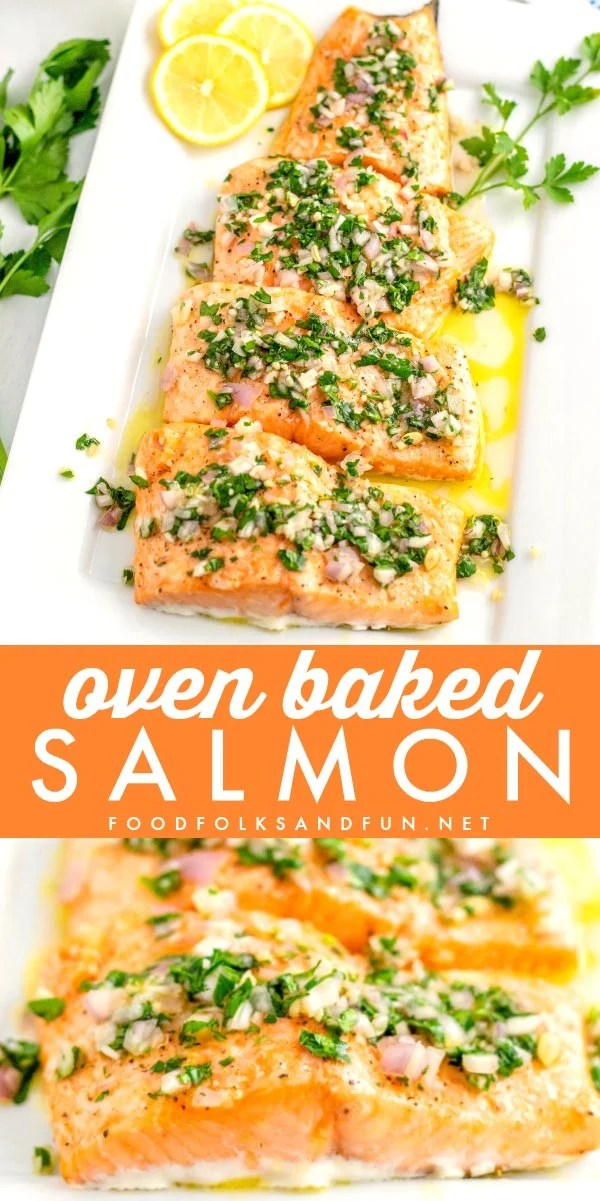 Picture collage of baked salmon.