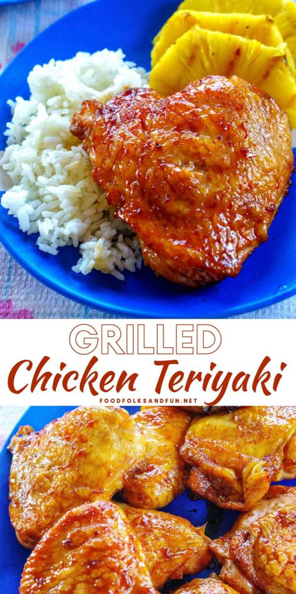 Chicken teriyaki on a serving plate and served with pineapple and white rice.