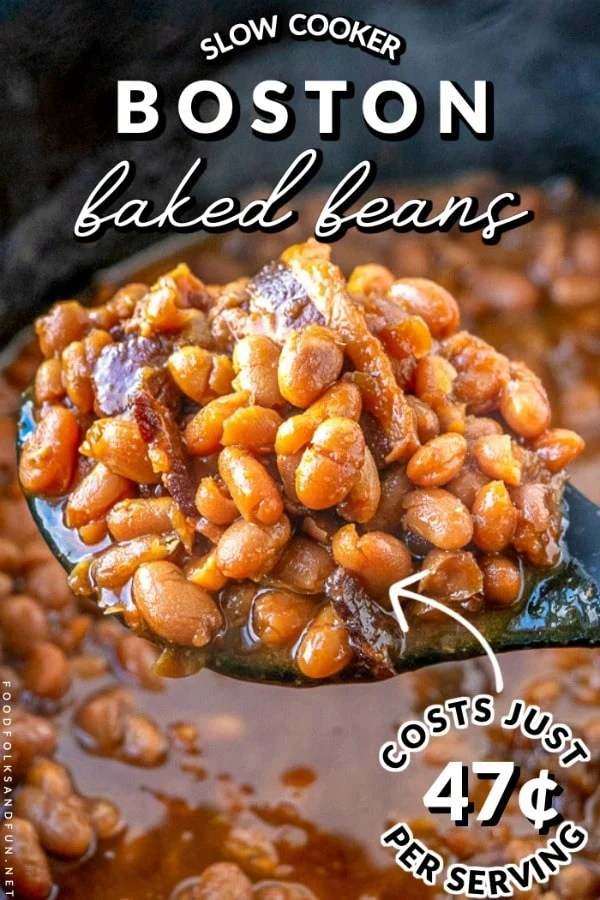 The finished Slow Cooker Boston Baked Beans recipe with text overlay for Pinterest.