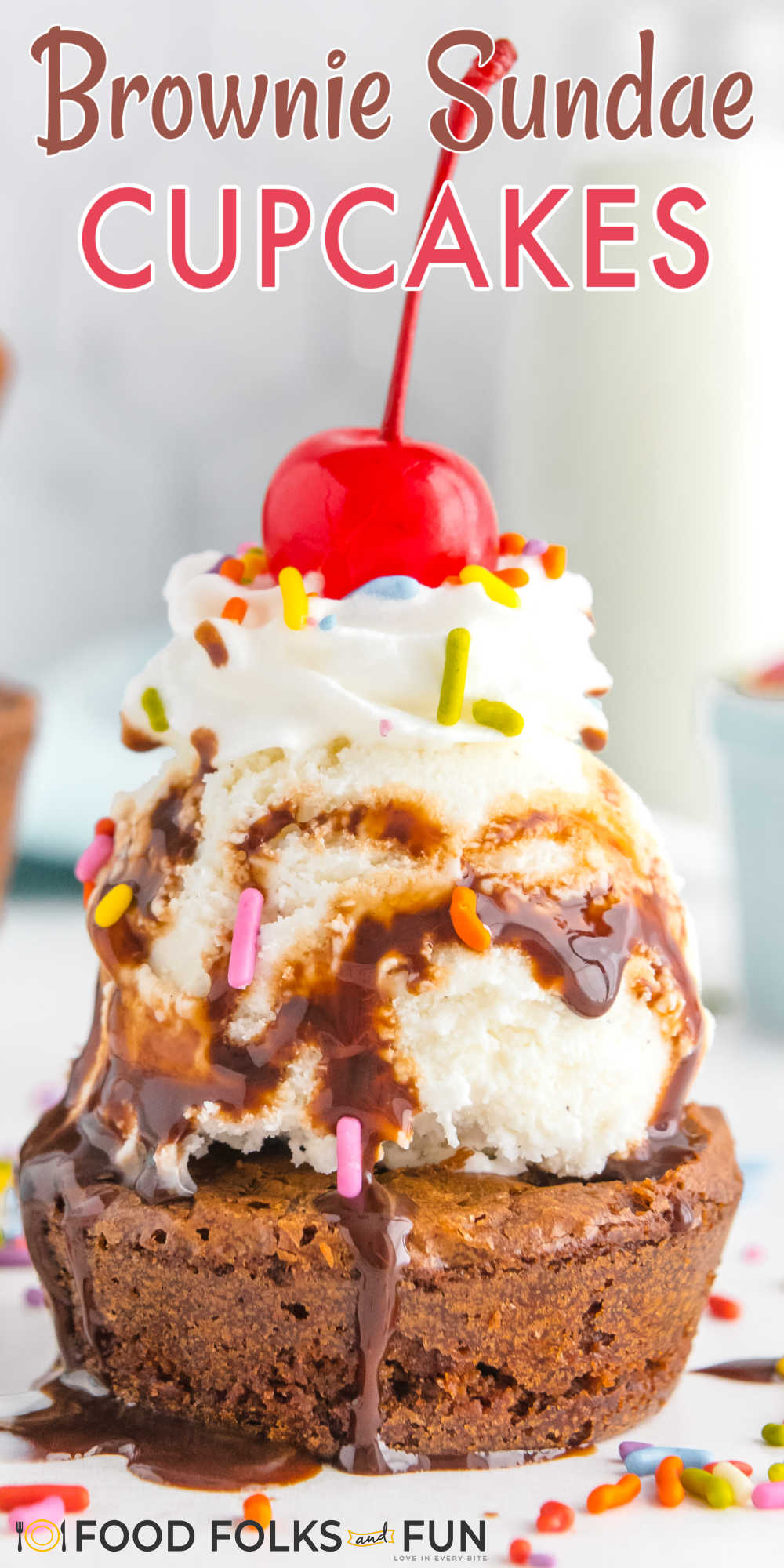 This Brownie Ice Cream Sundae Cupcakes recipe is a party on a plate! Use your favorite ice cream and turn these ice cream cupcakes into an easy summer treat! via @foodfolksandfun