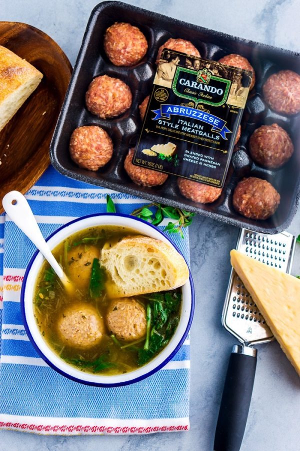 The finished soup with meatballs in the package.