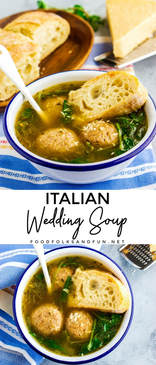 This shortcut Italian Wedding Soup is an easy and delicious meal that is perfect for soup season. The soup is so easy to make and also filling! via @foodfolksandfun