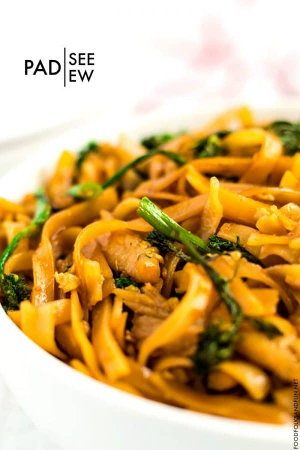 Close up picture of Pad See Ew noodles.