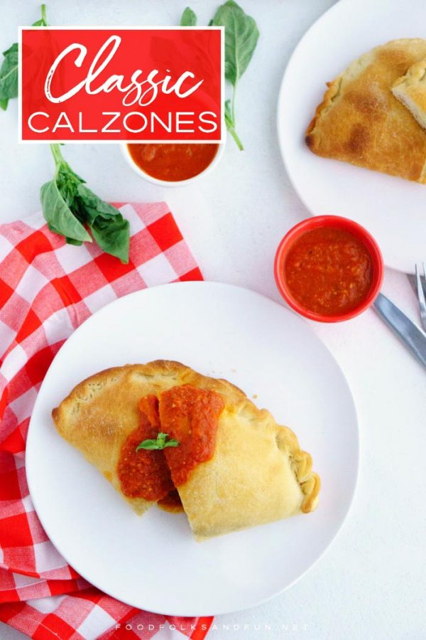 Finished Cheese Calzones with text overlay for Pinterest.