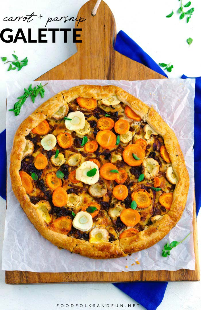 An overhead picture of the finished galette on a wooden board with text overlay for Pinterest.