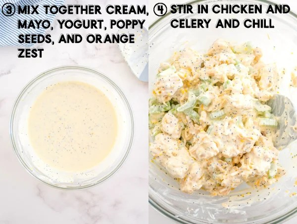 Chicken added to the cream mixture and mixed until combined.